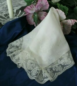 Vtg Antique French Handmade Valennciennes Lace Wedding Bridal Handkerchief 1830s