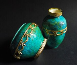 Set Of Two Flambe Turquoise Paul Milet Sevres Vases Ormolu 1890 3