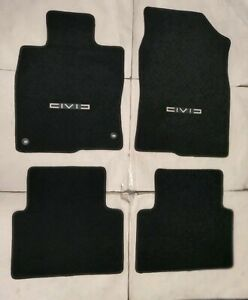 Fits 16 18 Honda Civic 4dr Floor Mats Black 4pc W emblem Civ 2