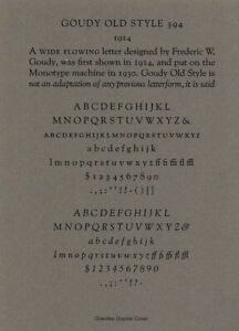 New Letterpress Type 12pt Goudy Old Style Complete Font
