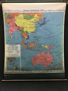 1957 A J Nystrom Southeast Asia Australia Pull Down Wall Map 56x 47