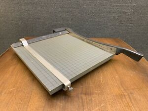 Vintage Tower 12 Guillotine Paper Cutter Trimmer In Wood Cast Iron