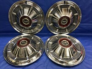 Vintage Set Of 4 1966 77 Ford 15 Hubcaps F100 Pick Up Bronco Galaxie Good Cond