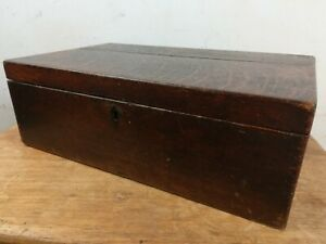 Vintage Oak Wood Box Chest Jewellery Collectables Old