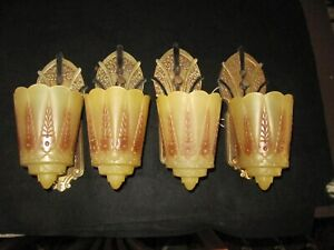 Lincoln Slip Shade Sconces Sconce Pair Art Deco Light Rewired