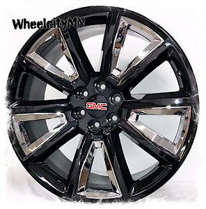 26 Gloss Black Chrome 2016 Chevy Tahoe Ltz Tahoe Oe Gmc Sierra Replica Wheels