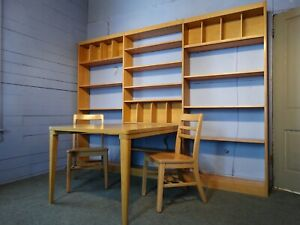 Mid Century Modern Solid Maple Modular Library Shelving Unit Table