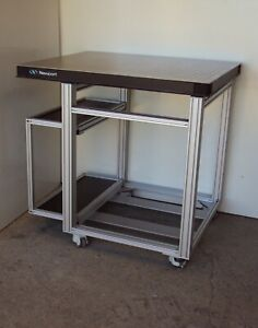 Crate ship Newport Optical Breadboard Table Roll around Aluminum T slot Bench