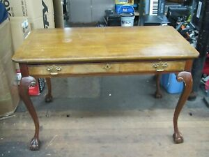 Vintage Baker Furniture Walnut Burl 1 Drawer Writing Desk 46 X24