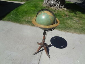 Kittinger Terrestrial 12 World Globe Pedestal W A K Johnston