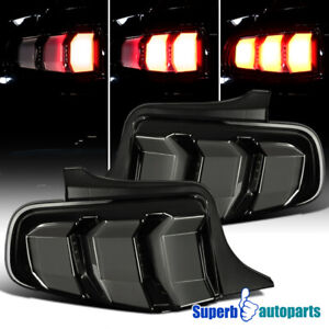 For 2010 2012 Ford Mustang Tail Lights Sequential Signal Lamp Glossy Black Smoke