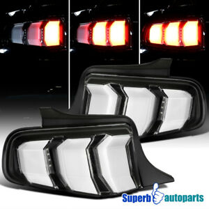For 2010 2012 Ford Mustang Tail Lights Sequential Signal Lamps Black Pair