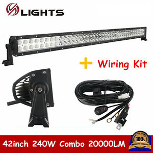 42 Inch 240w Led Light Bar Combo Off Road 4wd Ute Truck Ford Boat Suv Wiring Kit