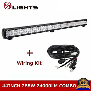 44inch 288w Led Light Bar Driving Truck Offroad Fog Suv Atv 4wd 42 46 wiring Kit