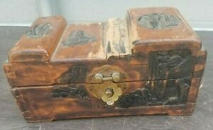 Small Oriental Carved Wooden Chest Trinket Jewellery Box