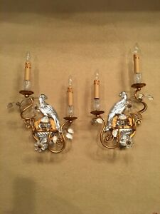 Pair Of Maison Bagues Style Crystal Parrot Lighted Wall Sconces