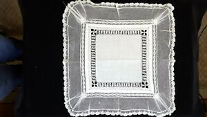 Antique Victorian White Linen Lace Wedding Hanky Stunning Detail
