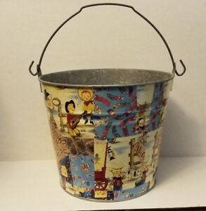 Galvanized Metal Large Bucket Pail Vintage Childrens Country Western Theme