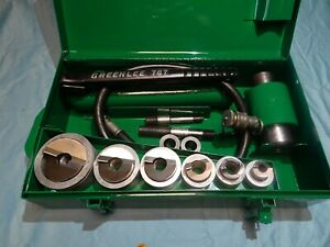 Greenlee 7506 1 2 2 Stainless Steel Hydraulic Knockout Set W 767 Hand Pump