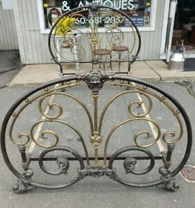 Antique Cast Iron Brass Bed Very Ornate Beautiful Piece Circa 1890 1910 S