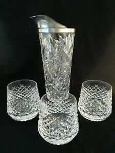 Vintage Cut Crystal Glass Silver Plate Cocktail Pitcher And 3 Glasses