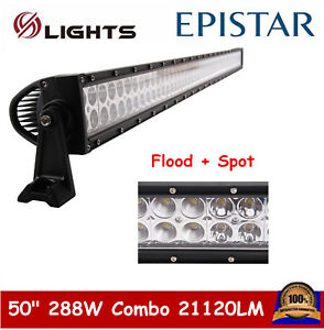50 Inch 288w Led Light Bar Combo Offroad Driving Fog Drl 4x4 Truck Ford Pk 48 52
