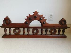 Antique Crest Pediment Crown In Solid Walnut Wood Salvage Vintage Ornate 25 X10