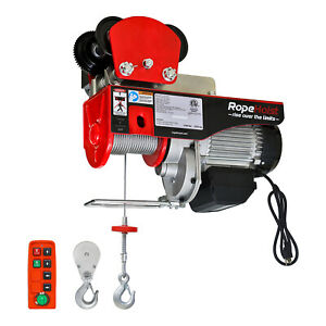 1 Ton Electric Cable Hoist 2200lb Wire Rope Hoist Wireless 3 Year Warranty