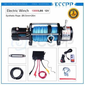 Eccpp 13000lb Electric Winch 12v 85 Synthetic Rope Towing Offroad Truck 12000lb