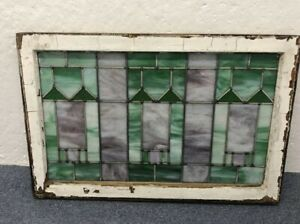 Original Antique Arts And Crafts Leaded Stained Glass Window