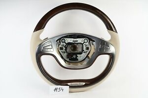 Mercedes Benz S Class W222 S550 Brown Wood Cream Leather Steering Wheel 54