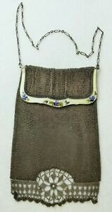 Antique Continental 935 Sterling Silver Enamel Mesh Chain Purse Chatelaine