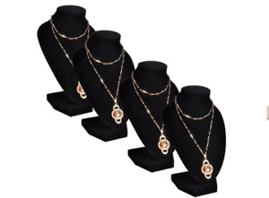 Flannel Jewelry Holder Necklace Bust Black 9 X 4 5 X 11 8 4 Pcs Jewelry Holde
