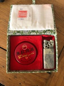 Vintage Chinese Stamp Set Seal Carved Soap Stone Sign Red Ink