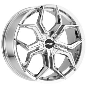4 New 20 Inch Mkw M121 20x8 5 5x100 5x108 35mm Chrome Wheels Rims