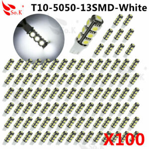 100x T10 5050 13smd Led Car Rv Camper Backup Light Bulb 194 921 912 Super White
