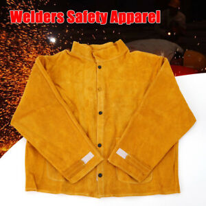 Welder Coat Welding Safety Apparel Cow Leather Apron Abrasion Cutting Resistance