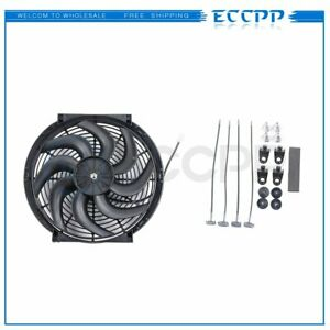 12v 14 Inch New Black Universal Plastic Slim Radiator Electric Cooling Fan Kit