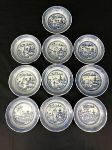 19th C Chinese Export Porcelain Canton Blue White Plates Lot Of 10 61