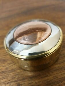 Antique Arts And Crafts Brass Copper Silver Plate Small Pill Box