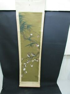Antique Chinese Scroll Painting On Silk Depicting 2 Birds On A Branch