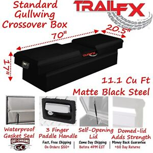 140703s Trailfx 70 Matte Black Steel Crossover Truck Tool Box Double Lid
