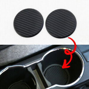 2 Pack Coasters Car Cup Holder Insert Accessories Universal Carbon Fiber Style