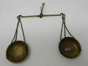 Vintage Antique Brass Hanging Balance Beam Scale R19856