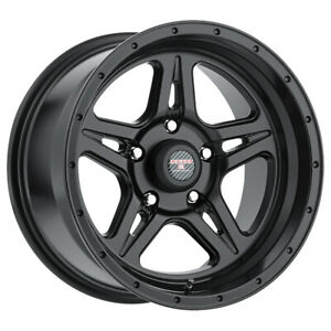 4 Level 8 Strike 5 17x9 5x127 5x5 12mm Matte Black Wheels Rims