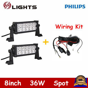 2x 36w Led 8inch Lights Offroad Driving Spot Beam Ford Atv 4wd Free Wiring Kit