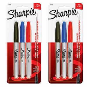 2 Pack New Sharpie Fine Point Permanent Black Blue And Red Markers
