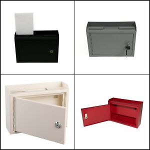 Suggestion Slot Drop Box Steel Safe Letter Cash Mail Lock Mount Donation Charity