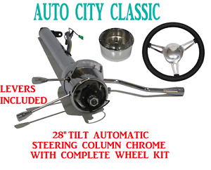 28 Street Hot Rod Chrome Stainless Tilt Steering Column Automatic 3 Spoke Wheel
