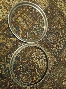 Trim Rings 15 Chrome Plated Stainless Smooth Vintage Ford Chevy Gm Used Pair